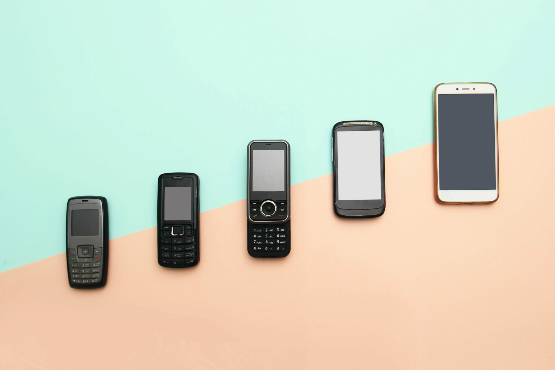 Evolution,Of,Cell,Phones.,Technology,Development,Telephone,And,Pda,Concept.