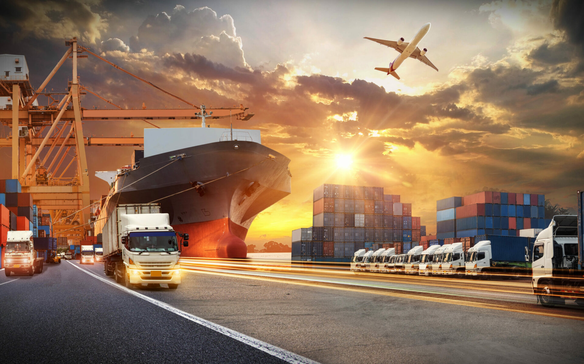 Container,Truck,In,Ship,Port,For,Business,Logistics,And,Transportation